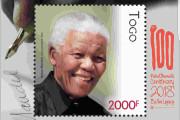 TIMBRE POSTE EN L'HONNEUR DU 100ème ANNIVERSAIRE DE NESLSON MANDELA